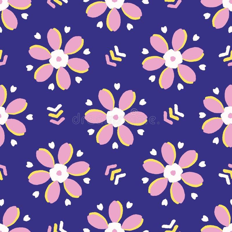 减速火箭的大胆的花卉雏菊无缝的样式 在印刷品传染媒介背景 俏丽的夏天20世纪50年代时尚样式 时髦葡萄酒 向量例证