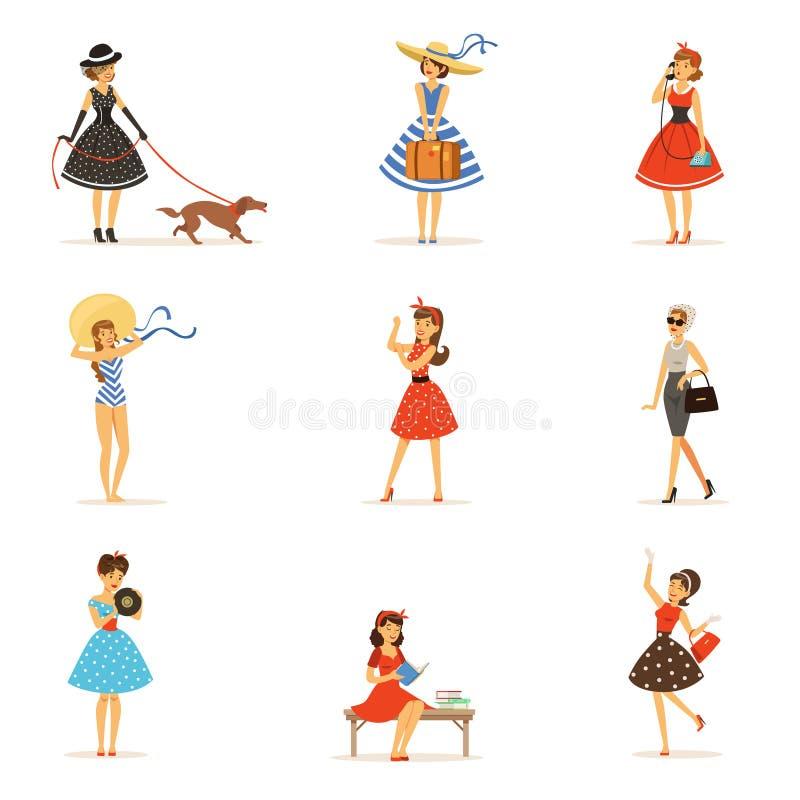 减速火箭的女孩字符设置了,佩带葡萄酒礼服五颜六色的传染媒介例证的美丽的少妇 库存例证