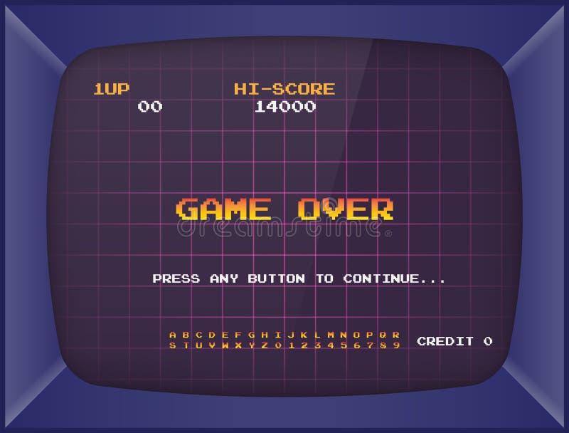 减速火箭的娱乐游戏机器 屏幕背景和字体 向量例证