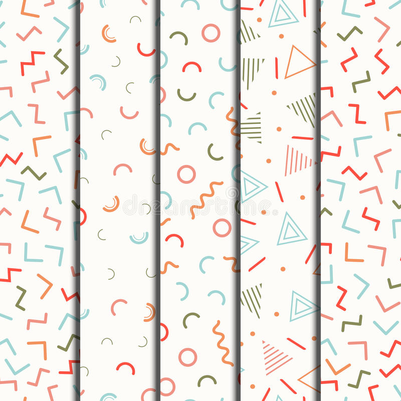 减速火箭的孟菲斯几何被设置的线形无缝的样式 行家时尚80-90s 抽象混杂纹理 黑色和 库存例证