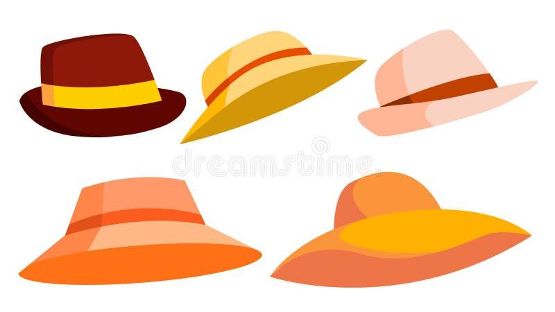 减速火箭的帽子集合传染媒介 browne 人的,端庄的妇女经典传统帽子 布料顶头时尚 被隔绝的动画片 皇族释放例证