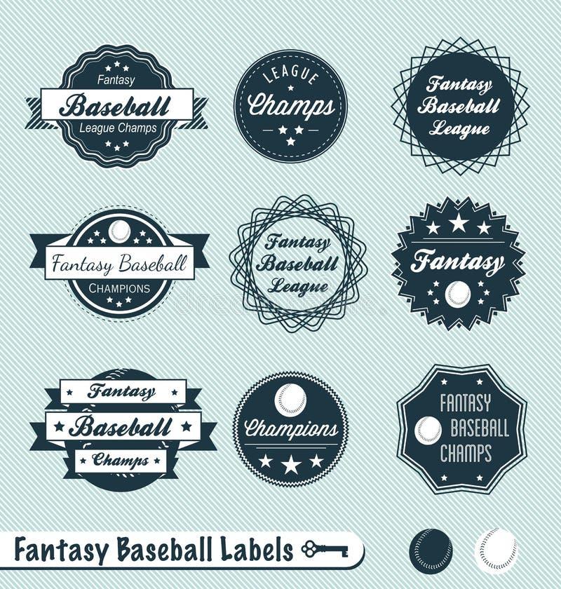 减速火箭的幻想棒球联盟标签和贴纸 皇族释放例证