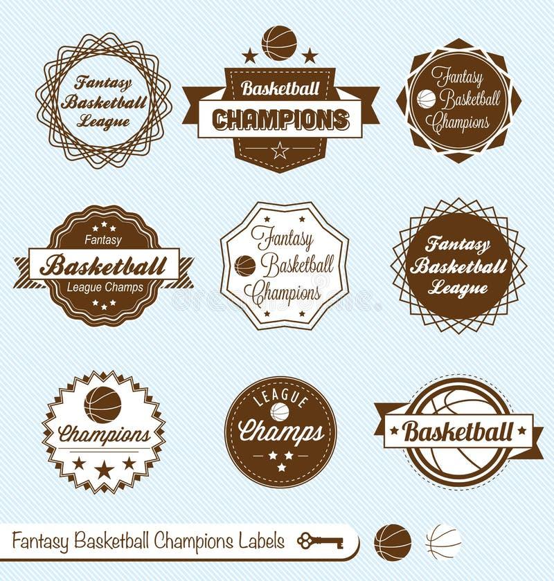 减速火箭的幻想Baskeball同盟标签和贴纸 皇族释放例证