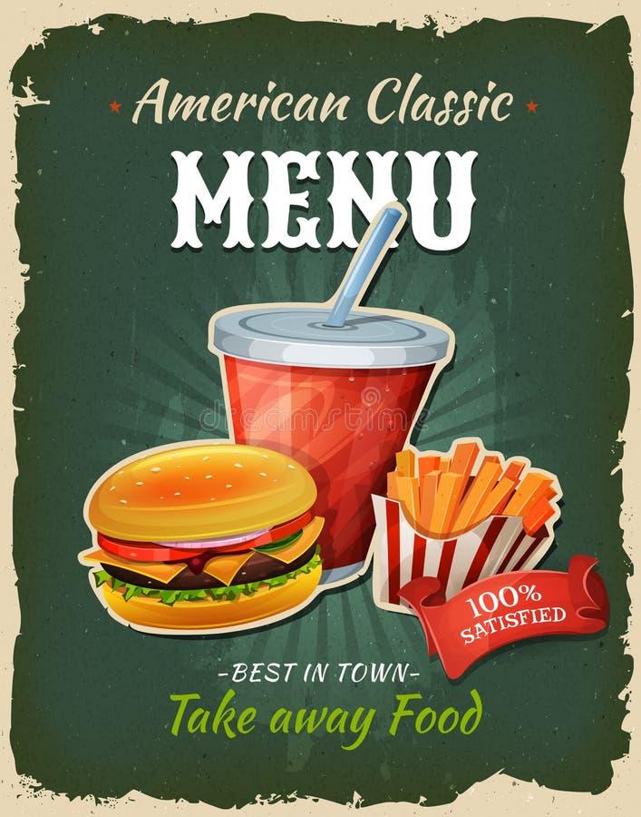 减速火箭的快餐汉堡菜单海报 皇族释放例证