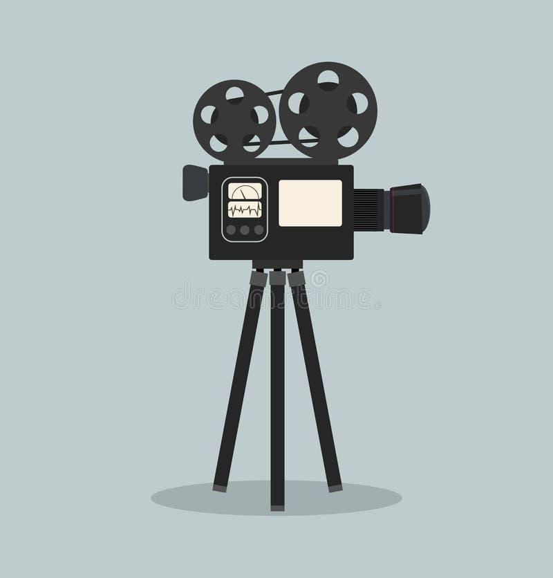 减速火箭的戏院影片照相机传染媒介 库存例证