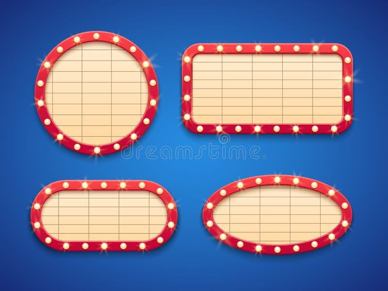 减速火箭的戏院或剧院光大门罩横幅 与灯的经典葡萄酒好莱坞电影广告牌 框架查出 库存例证