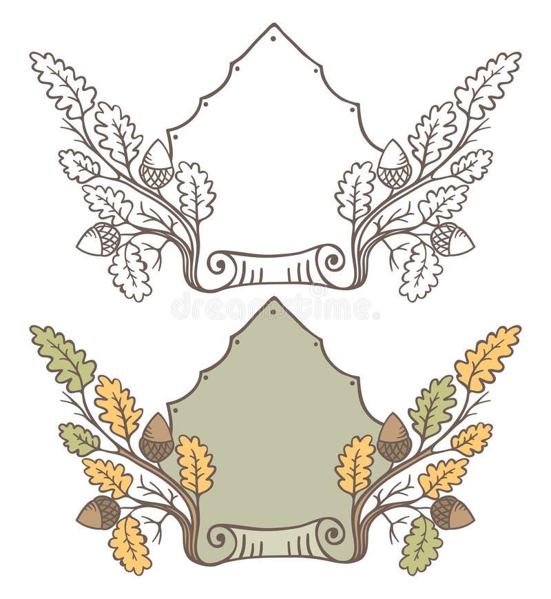 减速火箭的手凹道装饰橡木分支框架 构成设计花卉空间文本向量葡萄酒 库存例证