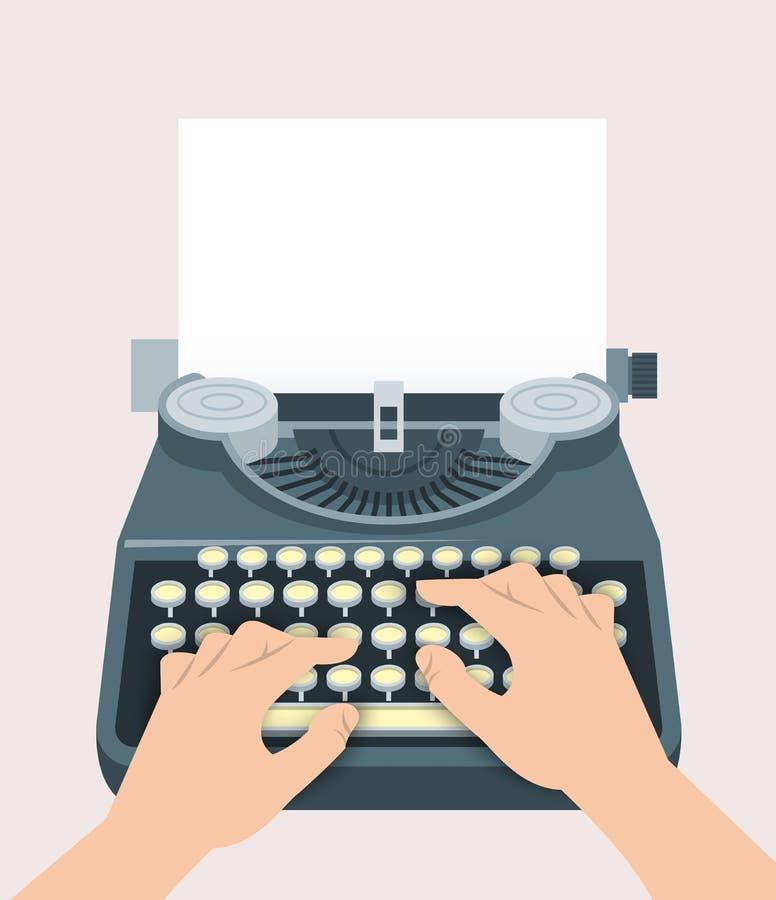 减速火箭的手工打字机用手写印刷体和纸片 库存例证