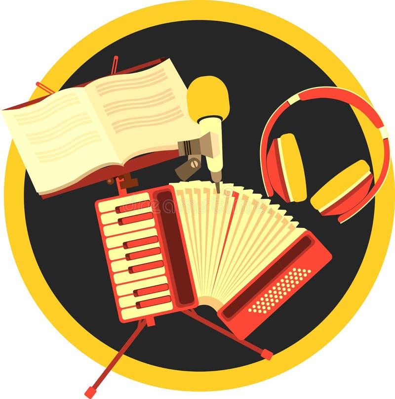 减速火箭的手风琴音乐 向量例证