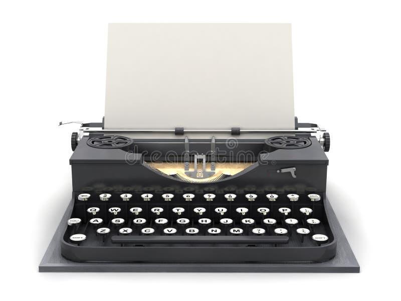 减速火箭的打字机和空白纸 向量例证