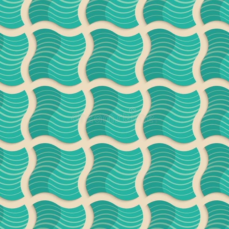 减速火箭的折叠浅绿色的镶边波浪正方形 库存例证