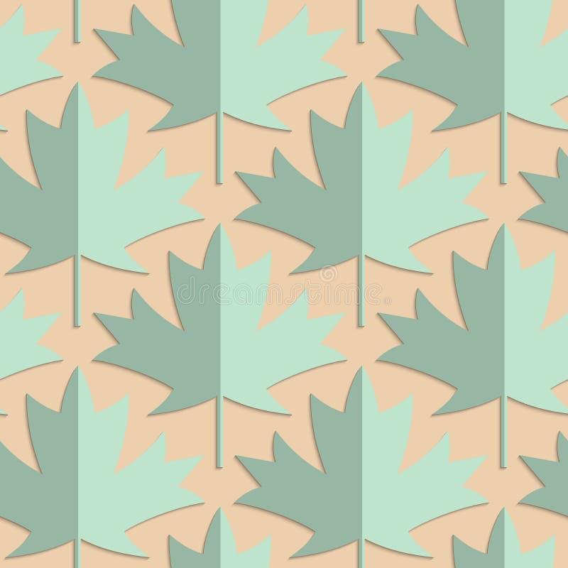 减速火箭的折叠绿色槭树叶子 库存例证