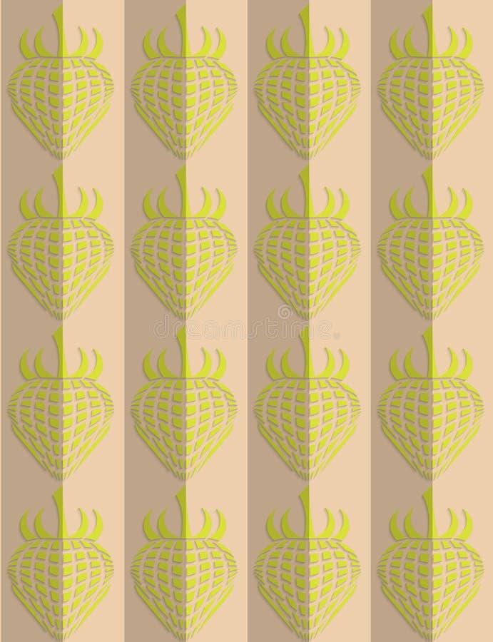 减速火箭的折叠绿色草莓 库存例证