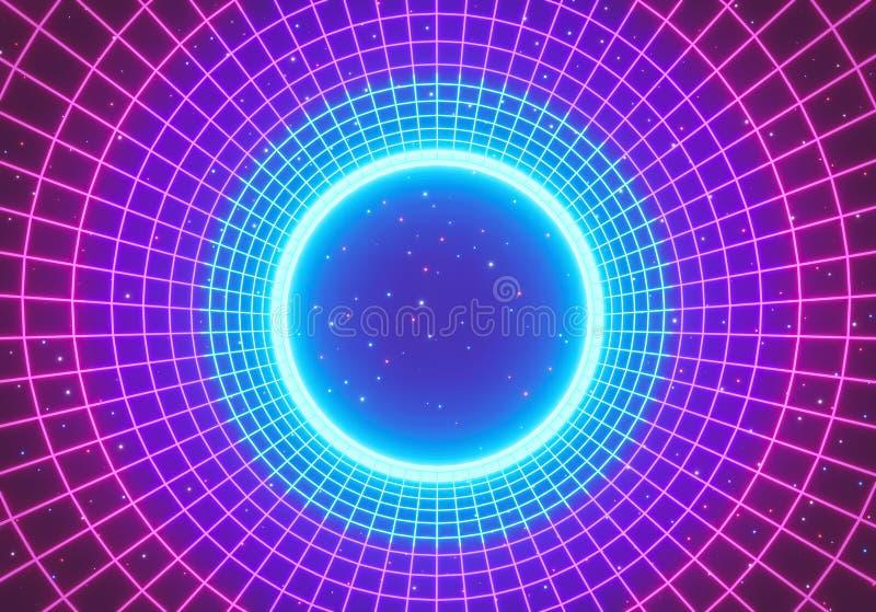 减速火箭的抽象科学幻想小说背景 发光的霓虹圆的隧道 3d?? 库存例证