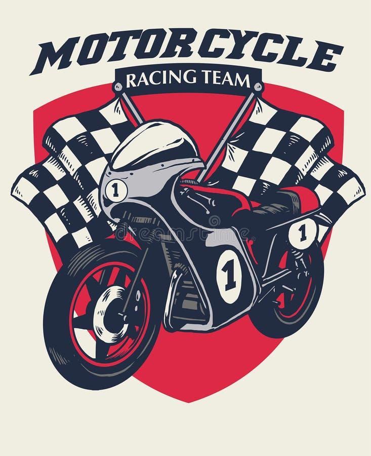 减速火箭的摩托车赛跑的徽章设计 库存例证
