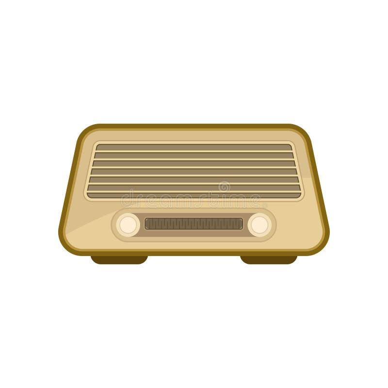 减速火箭的收音机平的传染媒介象  葡萄酒有两个设置瘤的音乐播放器 库存例证