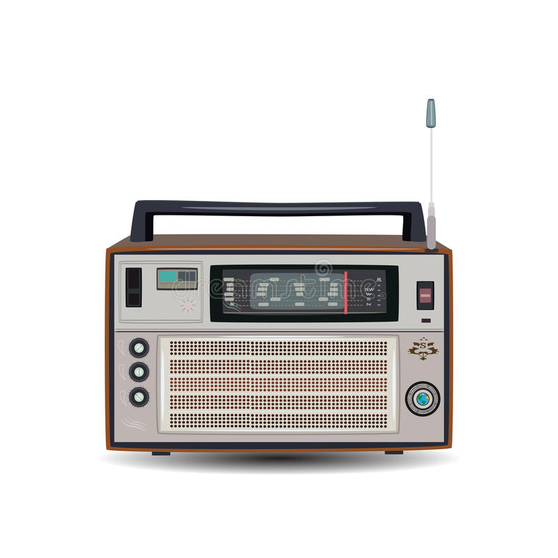 减速火箭的收音机,在平的样式的传染媒介例证 皇族释放例证