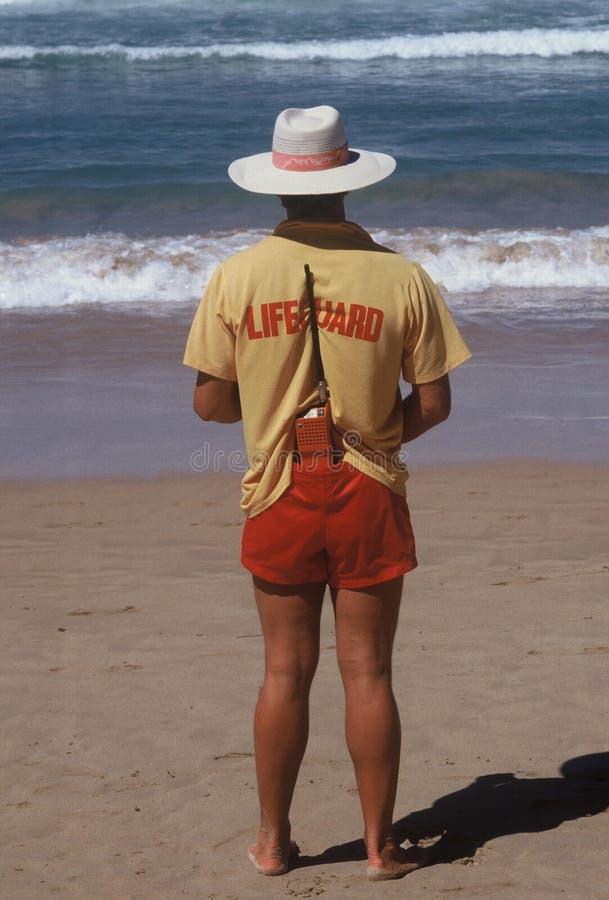 减速火箭的救生员当班邦迪滩澳大利亚 库存图片
