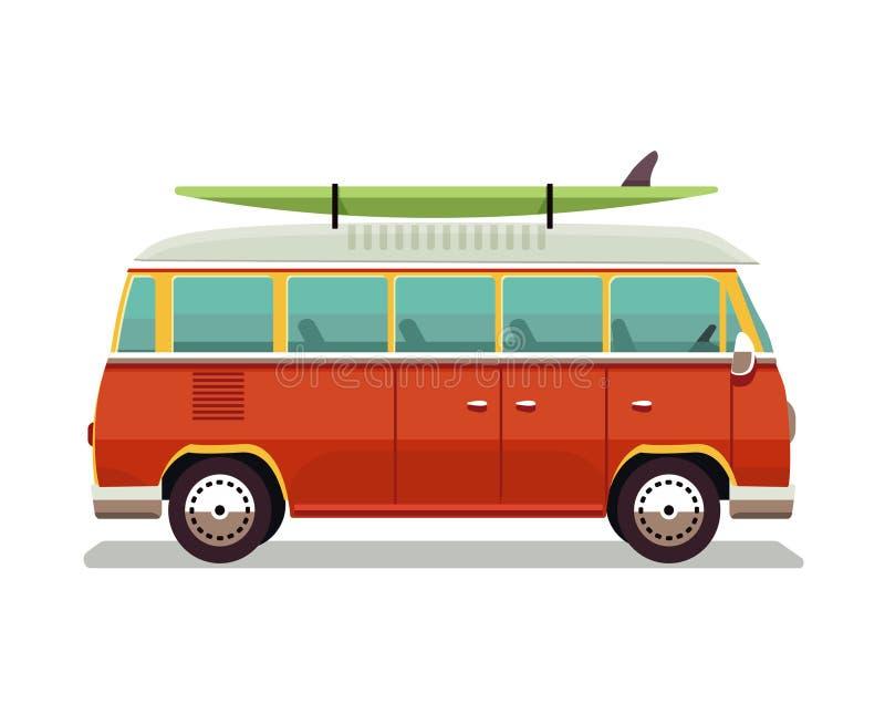 减速火箭的旅行红色van icon 冲浪者搬运车 葡萄酒旅行汽车 老经典露营车微型货车 减速火箭的嬉皮公共汽车 向量 向量例证