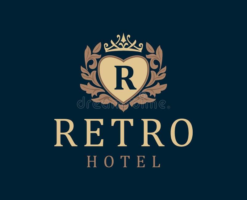 减速火箭的旅馆 信件象征R在与冠的心脏 向量例证