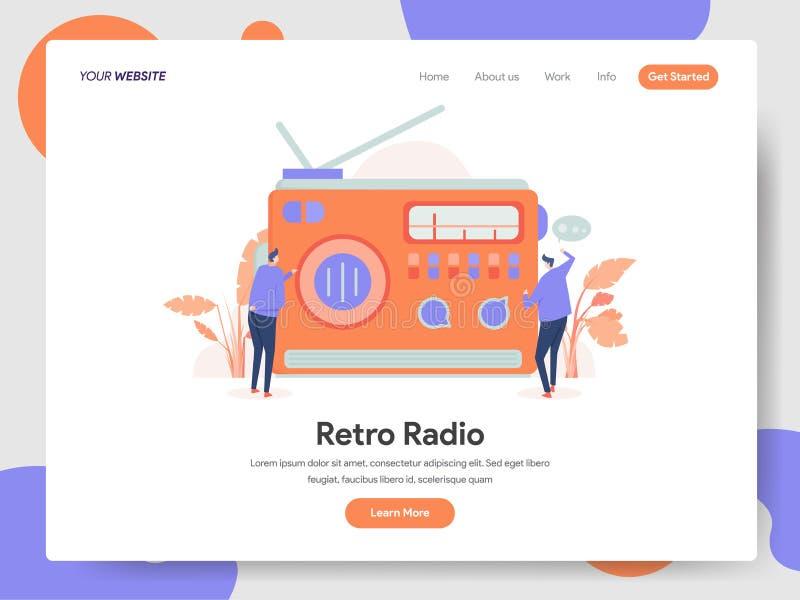 减速火箭的无线电例证概念登陆的页模板  网页设计的现代设计概念网站和流动网站的 免版税库存照片