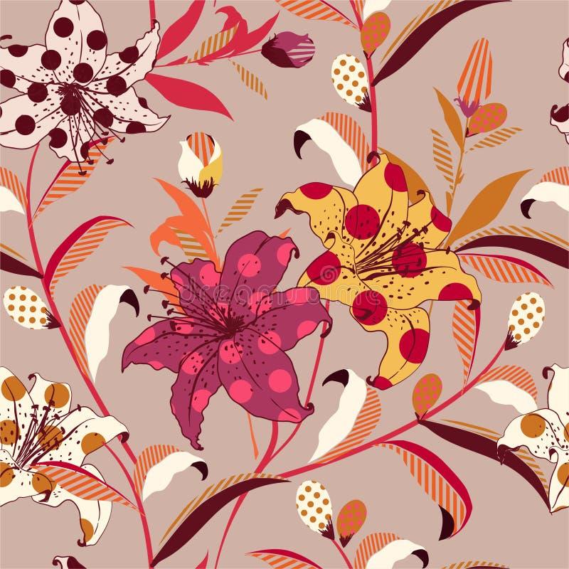 减速火箭的时髦在镶边五颜六色的流行艺术的样式的传染媒介花卉无缝的样式临时补缺者与圆点和,时尚的设计, 向量例证