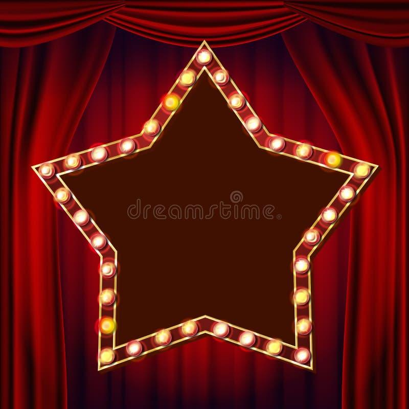 减速火箭的星广告牌传染媒介 概念窗帘介绍红色显示阶段剧院 光亮的轻的标志板 3D电发光的星元素 葡萄酒 皇族释放例证