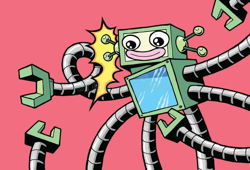 减速火箭的有机器人胳膊的样式葡萄酒愉快的机器人 库存例证