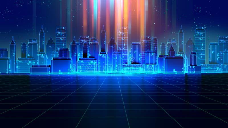减速火箭的未来派摩天大楼城市20世纪80年代称呼3d例证 向量例证