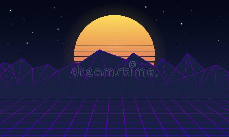 减速火箭的未来派背景80s 减速火箭的背景风景20世纪80年代 科学幻想小说风景 也corel凹道例证向量 库存例证
