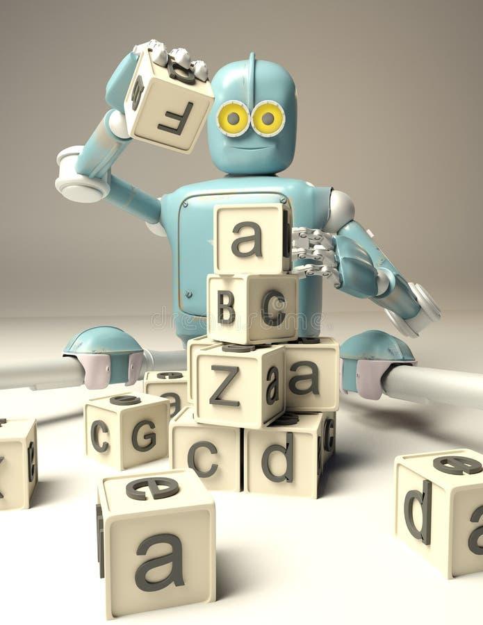 减速火箭的机器人使用与在floore的木ABC立方体 3d翻译 皇族释放例证