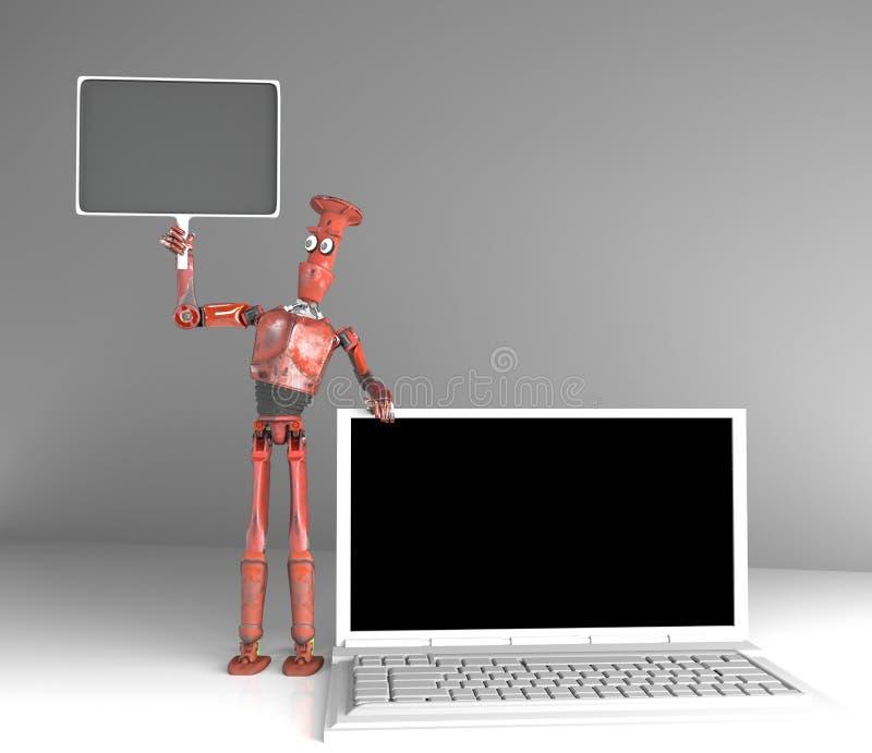 减速火箭的机器人卖膝上型计算机,3d回报 库存例证