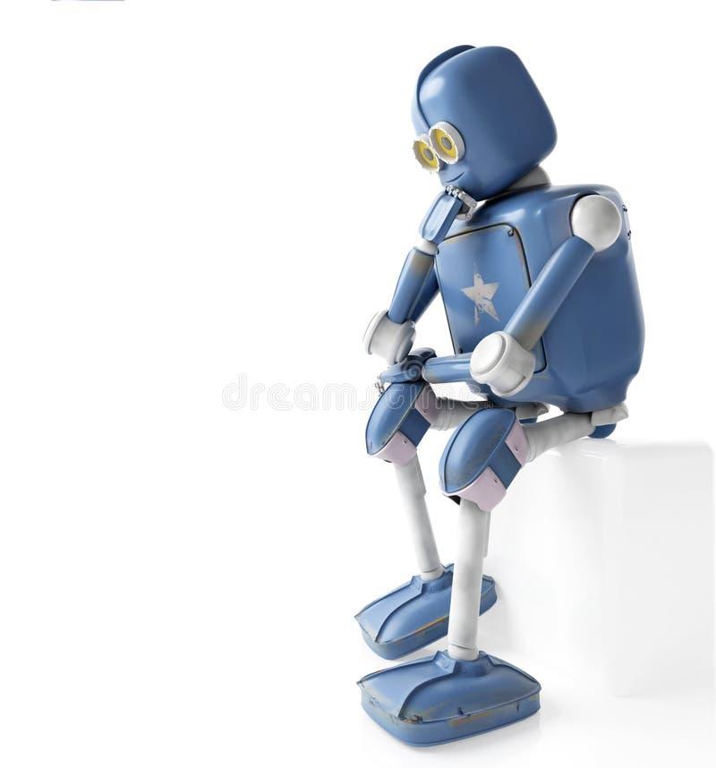 减速火箭的机器人认为坐立方体,人工智能, 向量例证
