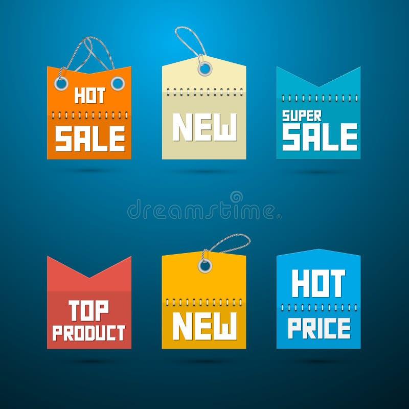 减速火箭的标签,标记。畅销品,新,超级销售,顶面产品。 向量例证