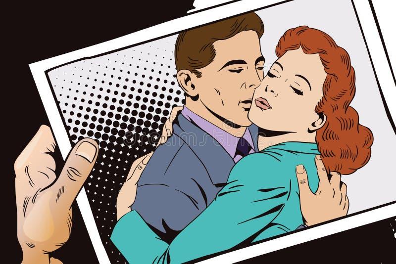 减速火箭的样式的人们 一对爱恋的夫妇的容忍 库存例证