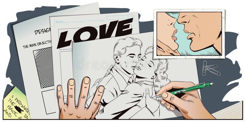 减速火箭的样式的人们 一对爱恋的夫妇的容忍 皇族释放例证