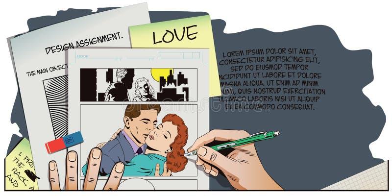 减速火箭的样式的人们 一对爱恋的夫妇的容忍 向量例证