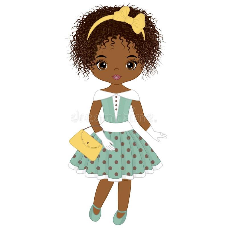 减速火箭的样式的传染媒介逗人喜爱的矮小的非裔美国人的女孩 库存例证