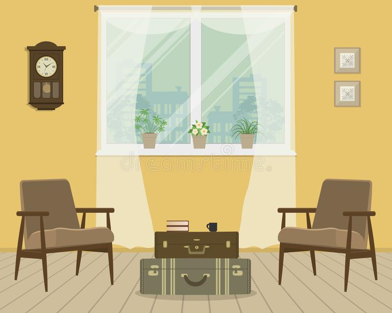 减速火箭的样式的黄色客厅 向量例证