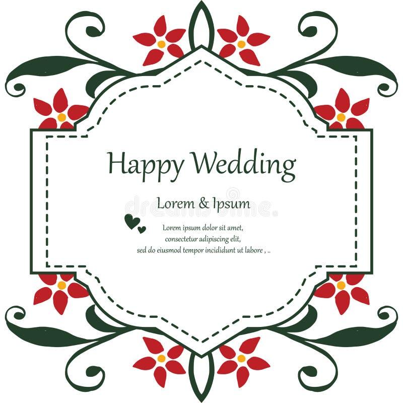 减速火箭的样式花卉框架,葡萄酒装饰,模板卡片愉快的婚礼 ?? 向量例证
