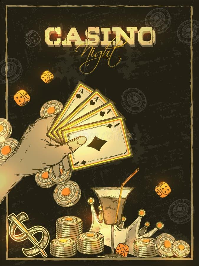 减速火箭的样式赌博娱乐场夜请帖卡片设计 库存例证