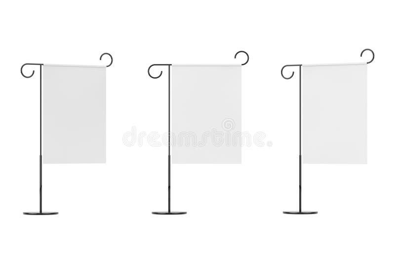 减速火箭的样式铁白色空白的横幅立场牌 3d翻译 向量例证