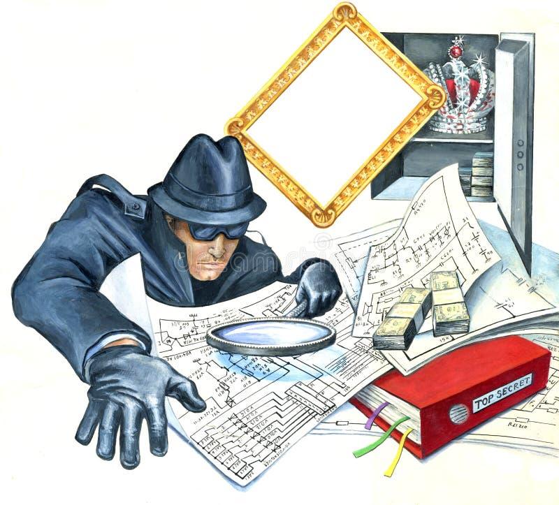 减速火箭的样式间谍人通过放大镜崩裂了保险柜和神色在最高机密的物产 库存例证