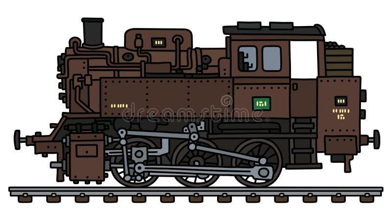 减速火箭的棕色煤水柜机车蒸汽机车 库存例证