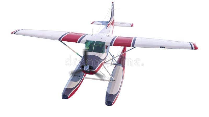 减速火箭的水上飞机例证 3d回报 推进器转动和弄脏 向量例证