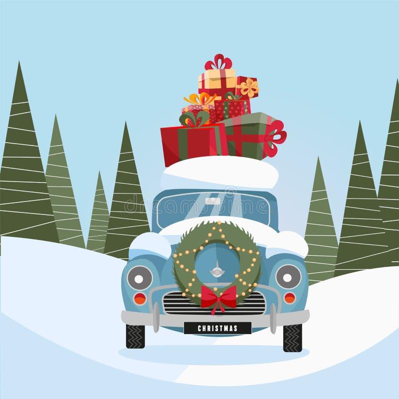 减速火箭的汽车的平的传染媒介动画片例证有礼物的在屋顶 一点经典红色在它的机架的汽车运载的礼物盒 库存例证