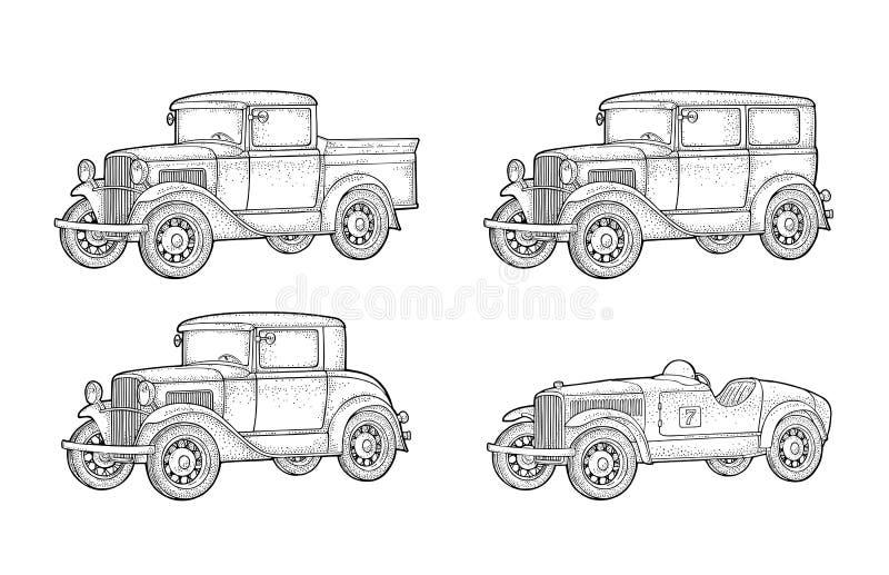 减速火箭的汽车轿车、小轿车和卡车 r 向量例证