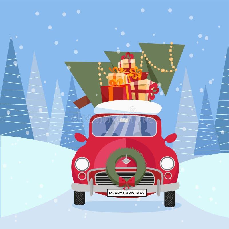 减速火箭的汽车,在屋顶的圣诞树的平的传染媒介动画片例证有礼物的 一点红色汽车运载的礼物盒 ? 向量例证