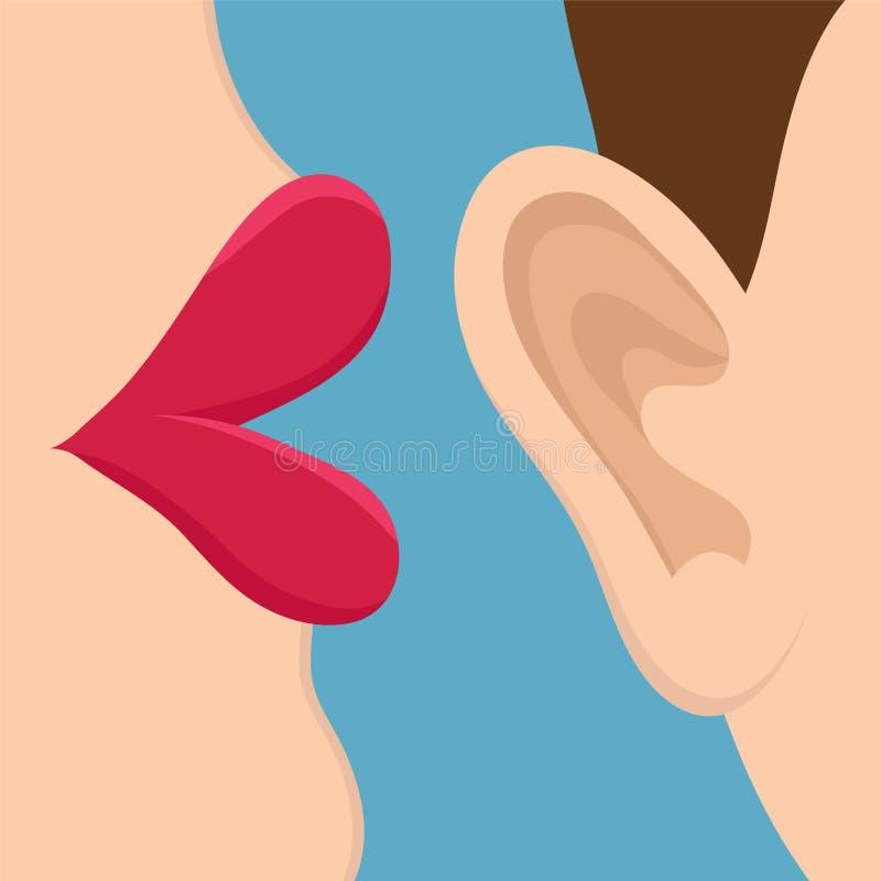 减速火箭的流行艺术样式可笑的样式书盘区闲话女孩耳语在与桃红色面颊的耳朵秘密,谣言,口头表达概念 皇族释放例证