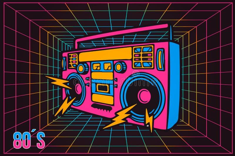 减速火箭的流行音乐党80 20世纪80年代集会记录器,霓虹动画片样式 向量例证